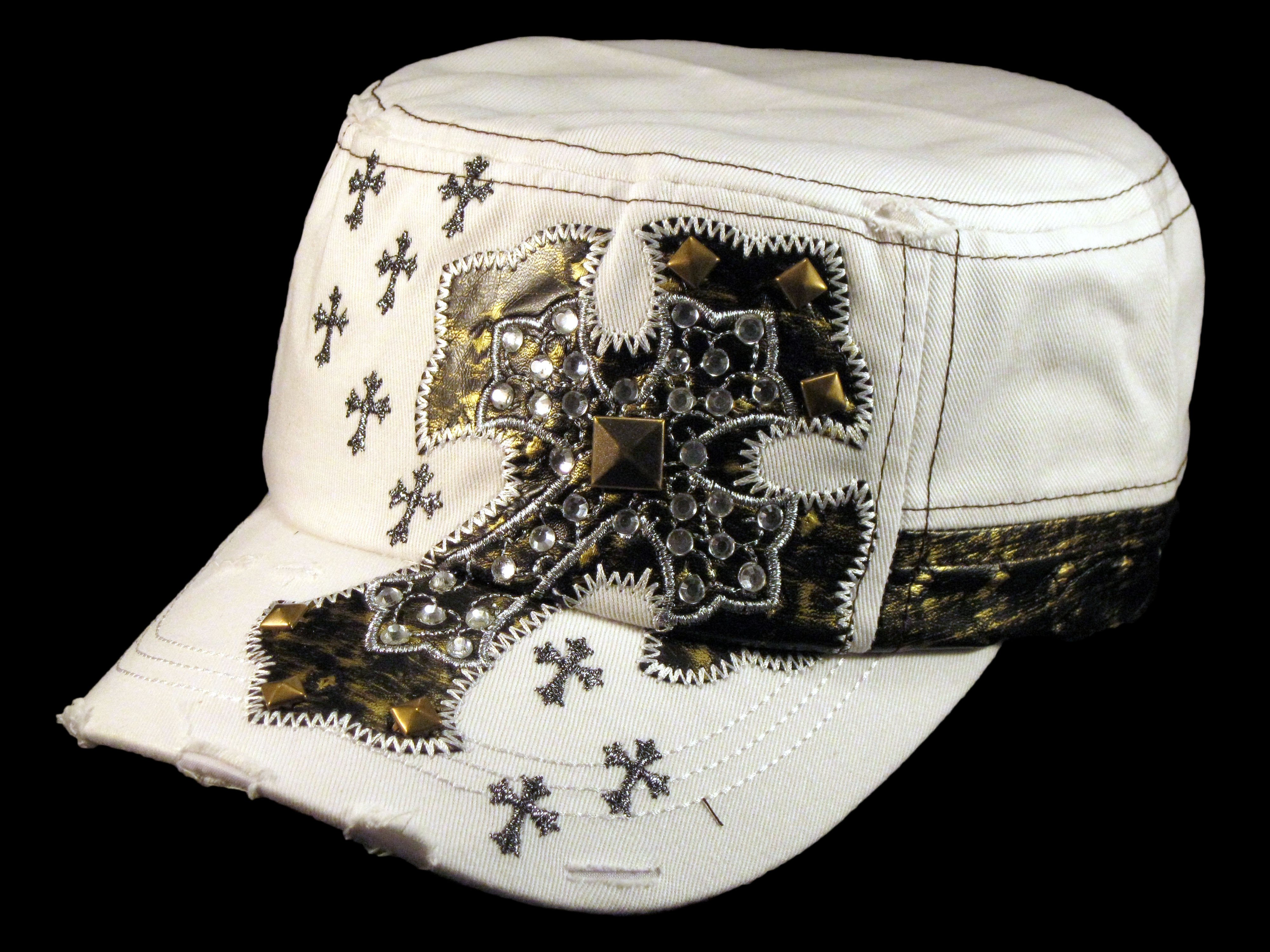 Jeweled Cross on White Cadet Castro Hat Military Army Cap - Printed  T-Shirts ae33ecf8356