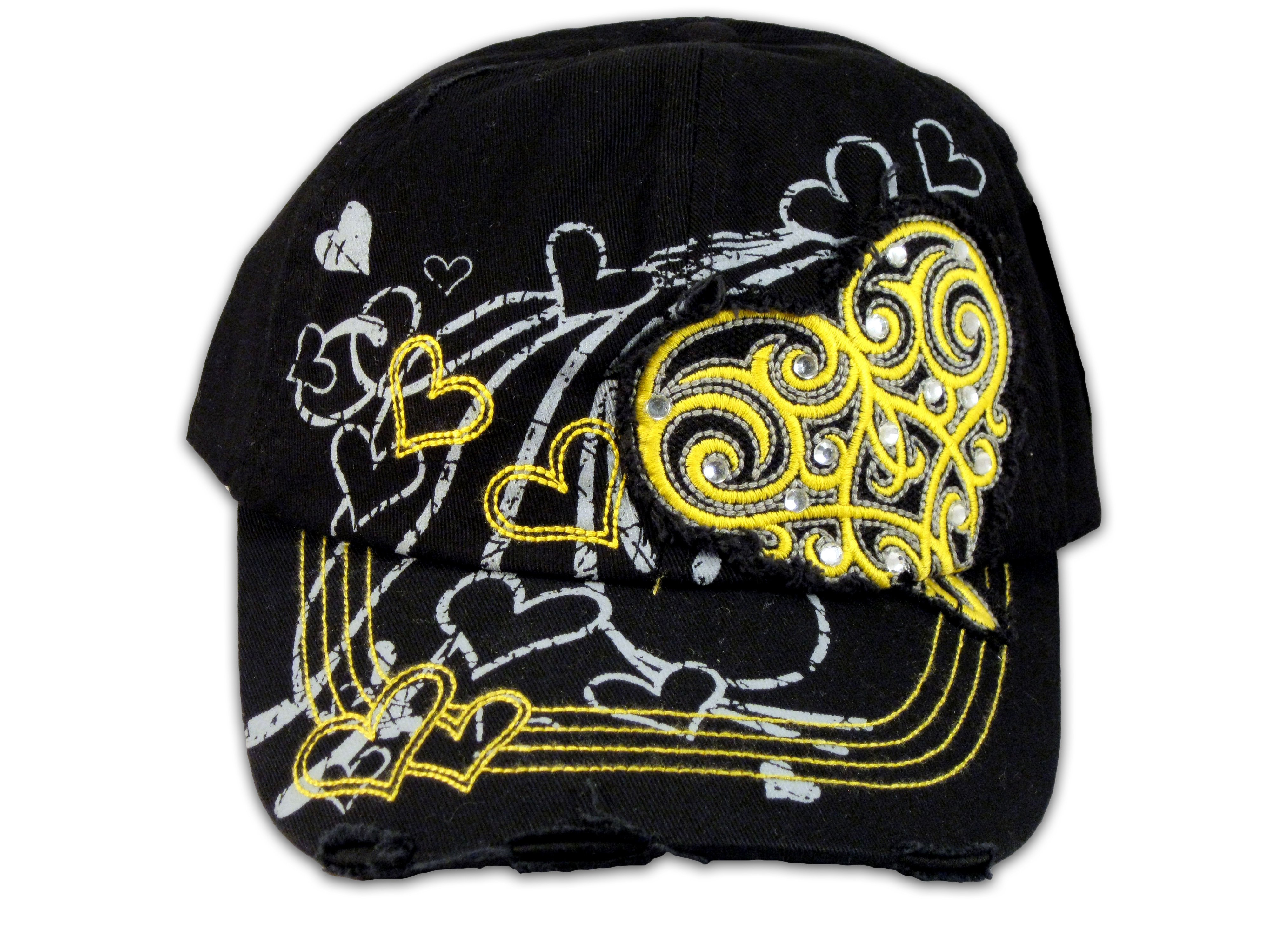 44a8bf8467b ... Yellow Heart Black KB Ethos Ball Cap Vintage Hat Distressed ...