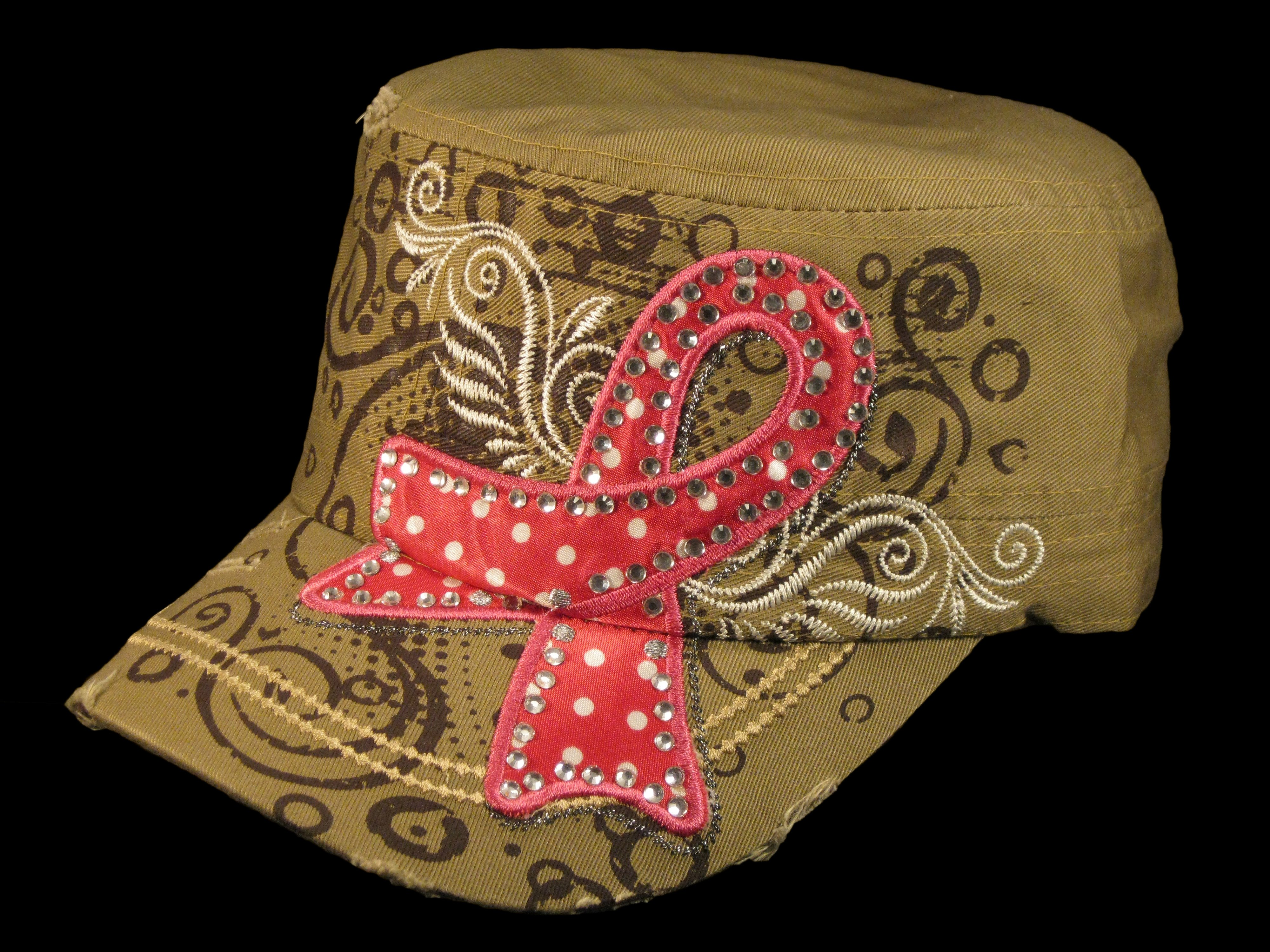 Khaki Breast Cancer Cadet Cap Distressed Military Army Vintage Hat ... 9bc0ae9a486