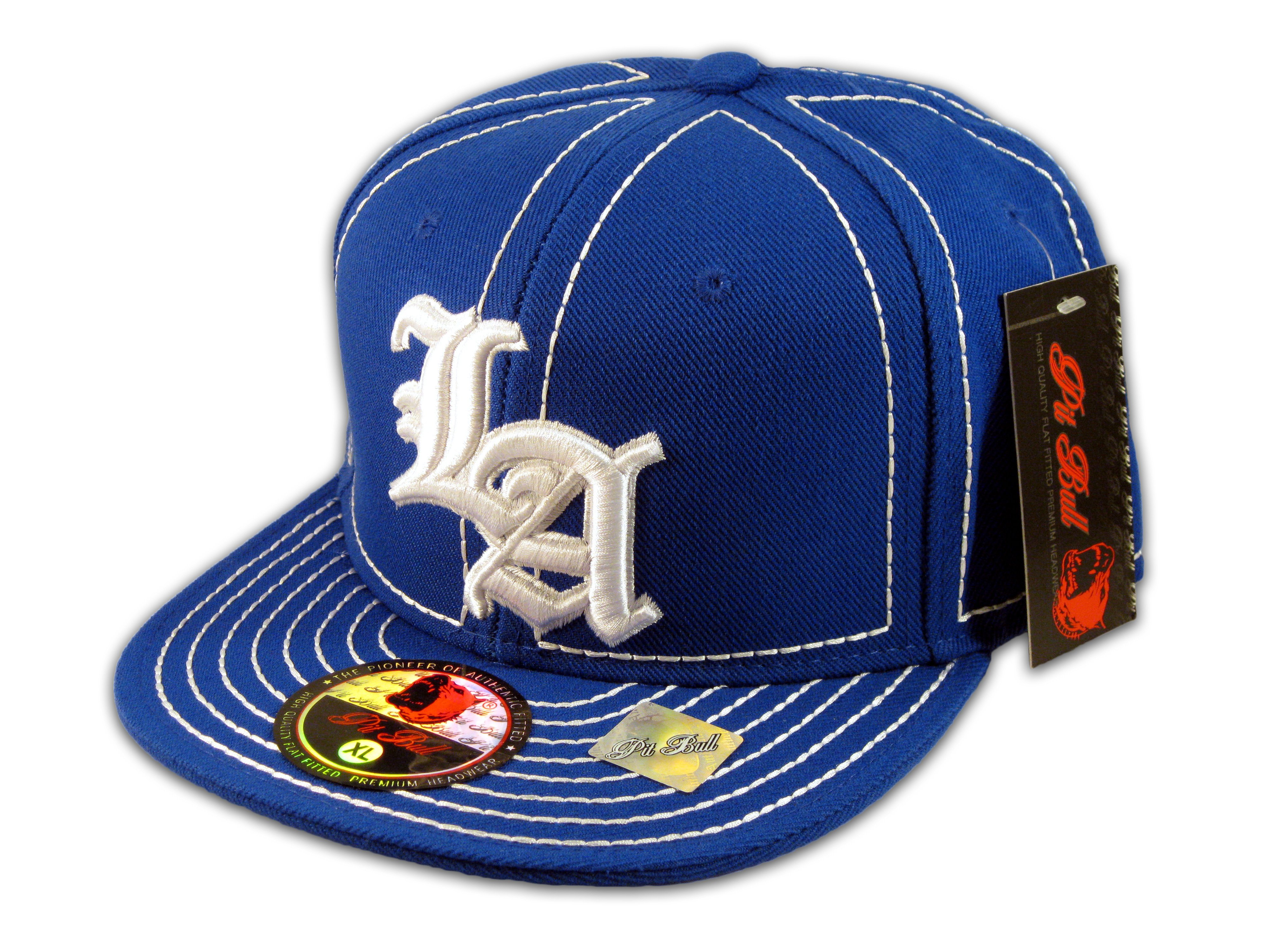 3cda3bdc86bc8 Los Angeles Fitted Hat on Blue White Flat Brim Ball Cap Hip Hop Hat ...