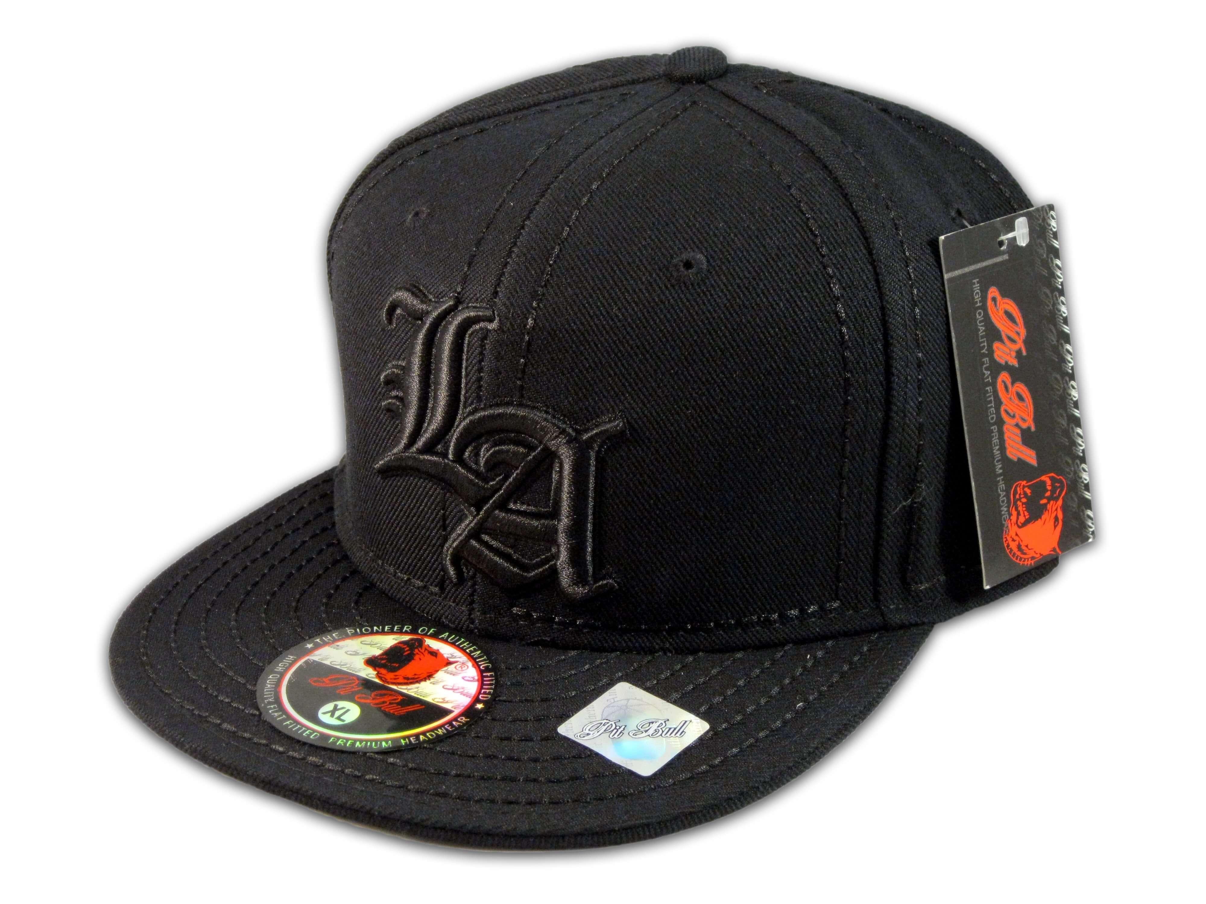 Los Angeles LA on Fitted Black Flat Brim Ball Cap Hip Hop Style Hat ... 817d5e01a60