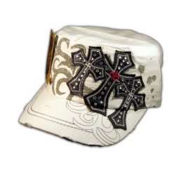 White Cadet Cap Black Triple Cross Studs Military Army Hat