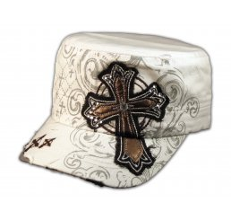 White Cadet Cap with Brown Cross Army Hat Vintage Distressed Visor