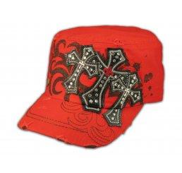 Red Cadet Cap Black Triple Cross Studs Military Army Hat