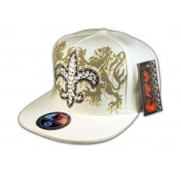 Fleur-de-lis on White Flat Brim Hip Hop Hat Jewels from Pit Bull