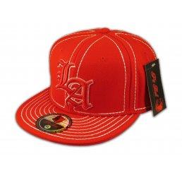 Los Angeles LA on Red White Flat Brim Ball Cap Hip Hop Style Hat