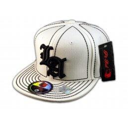 Los Angeles LA on White Black Flat Brim Ball Cap Hip Hop Style Hat