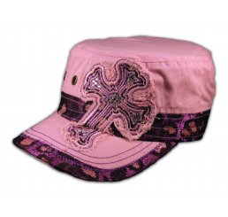 Cross on Pink Cadet Hat Vintage Army Cap Jewels Grommets