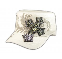 Rhinestone Cross on White Cadet Castro Hat Military Army Cap