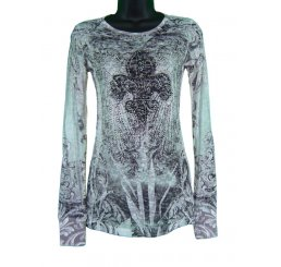Long Sleeve Burnout All Over Print with Jewels