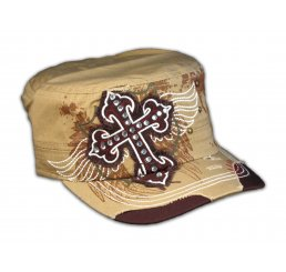 Cross on Khaki Cadet Cap Military Hat Distress Visor