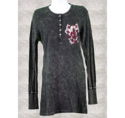 Thermal Print Shirt Jewel Long Sleeve with Red Velvet Cut Out