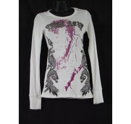 Thermal Print Shirt Jewel Wings Long Sleeve True Love White