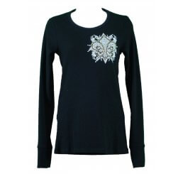 Thermal Print Shirt Jewel Long Sleeve with Fleur-de-lis Wings - Medium