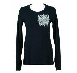 Thermal Print Shirt Jewel Long Sleeve with Fleur-de-lis Wings