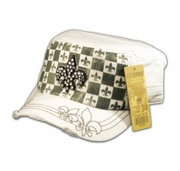 Fleur-de-lis on Checkerboard White Army Cadet Hat Military Cap