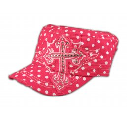 Cross on Pink Polka Dot Cadet Cap Military Hat Distressed Visor