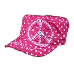 Peace Sign on Pink Polka Dot Cadet Cap Distressed Visor