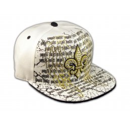 Fleur-de-lis and Wings on White Fitted Flat Brim Ball Cap Hip Hop Hat