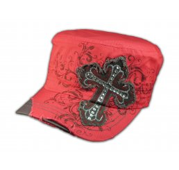 Pinkish Red Cross Cadet Castro Hat Vintage Military Army Cap