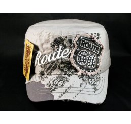 Gray Route 66 Cadet Castro Cap Vintage Military Army Hat Distressed