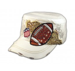 White Football Cadet Castro Cap Vintage Military Army Hat Distressed