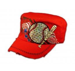 Baseball and Bat on Red Cadet Cap Vintage Hat Distressed Visor
