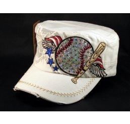 Baseball and Bat on White Cadet Cap Vintage Hat Distressed Visor