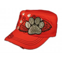 Paw Prints on Wings on Red Cadet Cap Vintage Distressed Jewels