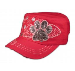 Paw Prints on Wings on Pink Cadet Cap Vintage Distressed Jewels