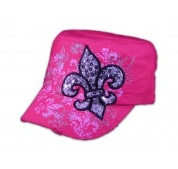 Fleur-de-lis on Pink Cadet Cap Vintage Army Hat Distressed Visor