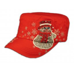 Christmas Snowman Red Cadet Castro Hat Military Army Cap Jewels