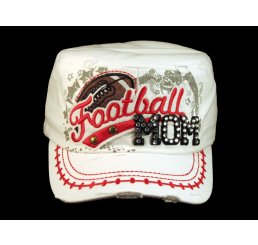 Football Mom White Army Cadet Military Castro Style Army Hat