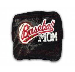 Baseball Mom on Black Cadet Cap Military Style Army Hat