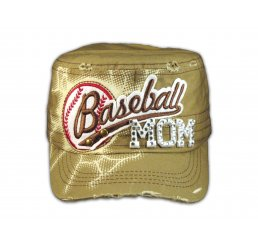 Baseball Mom on Khaki Cadet Cap Military Style Army Hat