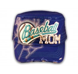 Baseball Mom on Blue Cadet Cap Military Style Army Hat