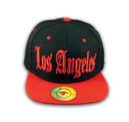 Los Angeles Snapback Black and Red Baseball Hat Cap Flat Brim Bill
