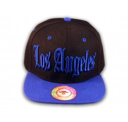Los Angeles Snapback Black and Blue Baseball Hat Cap Flat Brim Bill