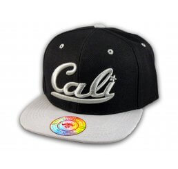 Black and Gray California Republic Flat Bill Snapback Cap 3D Cali Hat