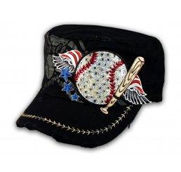 Baseball and Bat on Black Cadet Cap Vintage Hat Distressed Visor