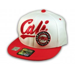White and Red California Republic Snapback Hat 3D Cali Bear