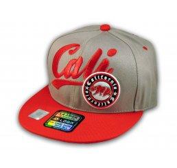 Gray and Red California Republic Snapback Hat 3D Cali Bear