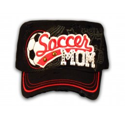 Soccer Mom on Black Cadet Cap Military Style Army Hat
