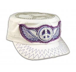 Peace Sign and Wings on White Cadet Cap Military Army Hat