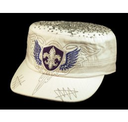 Fleur-de-lis and Wings on White Cadet Cap Military Army Hat