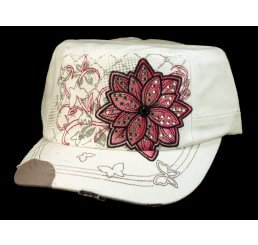 White Cadet Hat with Flower Vintage Army Cap Jewels Distressed