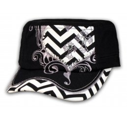 Black Cadet Hat Chevrons Heart and Cross Vintage Cap Jewels
