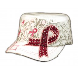 White with Pink Cancer Ribbon Cadet Cap Distressed Military Army Hat