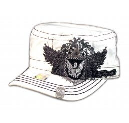 Winged Crest on White Cadet Cap Vintage Military Army Hat