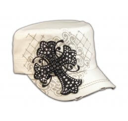 Black Jeweled Cross on White Cadet Castro Hat Military Army Cap